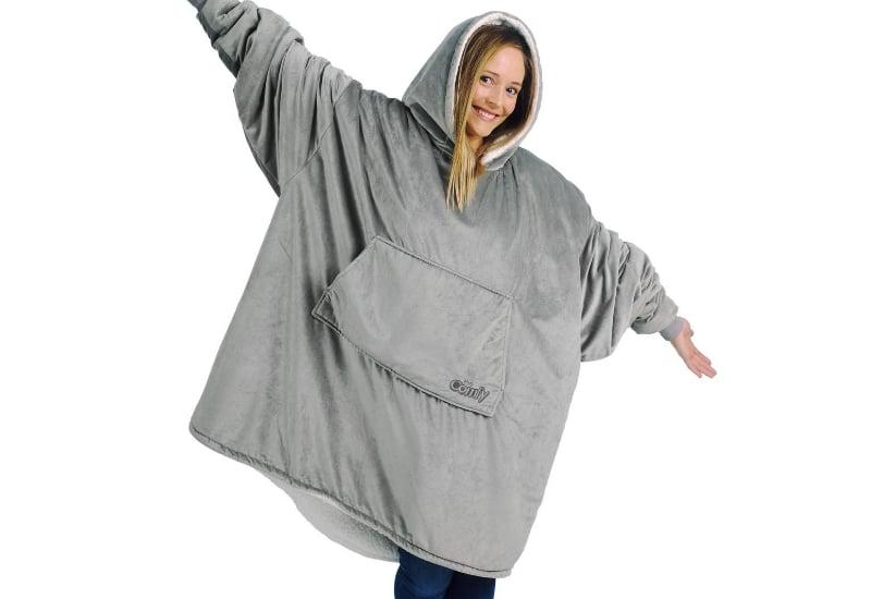 Girl in a grey Hoodie-Blanket